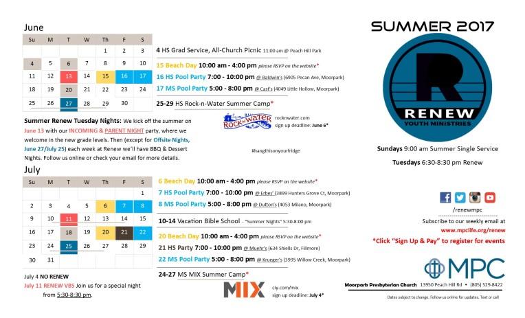 June-July 2017 Calendar